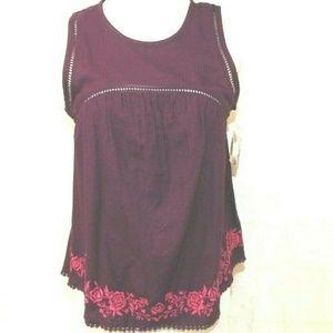 Womens Magenta Boho 100% Cotton Sleeveless Top